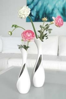 """Gilde Keramik 1 x Flaschenvase""""Vito""""  matt weiss  Breite 10 cm Höhe 31 cm 43231"""