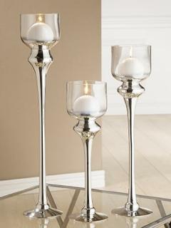 """Gilde Glas Windlicht """"Slanciata""""   klar/silber, mundgeblasen    Höhe 60 cm Ø 12 cm 39332"""