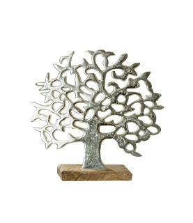 Gilde Lebensbaum auf Holzbase silber, Mangoholz Länge 8,0 cm Breite 38,0 cm Höhe 37,0 cm 48182