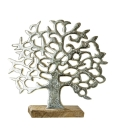 Gilde Lebensbaum auf Holzbase silber, Mangoholz Länge 8,0 cm Breite 49,0 cm Höhe 46,0 cm 48183