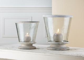 Gilde Glas Windlicht konisch+Holzbase mit Holzring    Breite 30 cm Höhe 33 cm  48209
