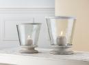 Gilde Glas Windlicht konisch+Holzbase mit Holzring...