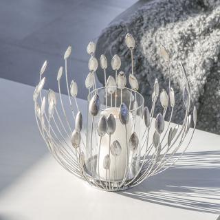 """Casablanca Windlicht """"Trevi""""  aus Metall · antik-silber  mit klarem Glaseinsatz  Höhe: 27 cm Durchm 30 cm 74223"""