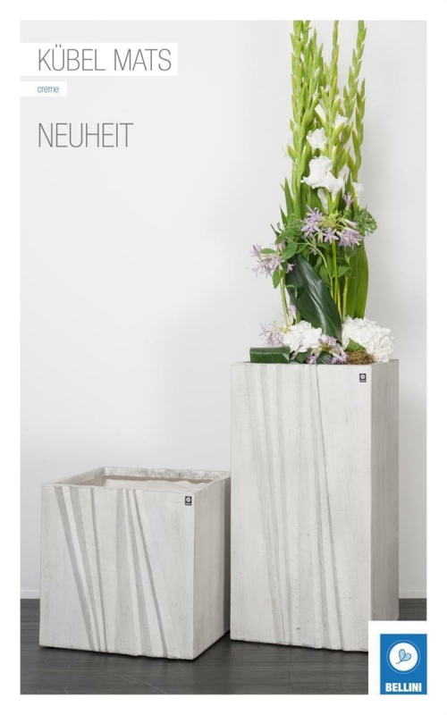 Bellini Kübel Mats eckig 25 creme © 411121 25cm x 25 cm Höhe 25,5 cm Pflanztopf Blumentopf kubisch