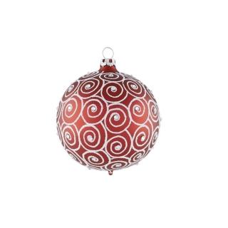 Rödentaler Weihnachtskugel Diamantschnecke Rot/Weiß 8 cm R04-075381