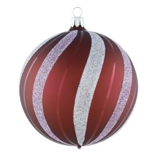 Rödentaler Weihnachtskugel Linientanz Himbeerrot-Silber-Zartrosa 10cm R04-0778101