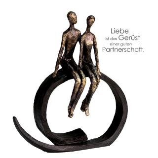 "Casablanca Skulptur ""Close"" bronce,Poly,Höhe 35cm Breite 30cm,Broncefinish,auf schwarzem Ring sitz 159661"