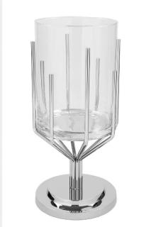 Fink Luxor  Windlicht  Aluminium  vernickelt  Edelstahl  vernickelt  silberfarben  Höhe 63 cm  Durchmesser 30 cm 159273