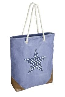 Gilde Tasche Stern mit Anker grau, braun, blau mit Kordelgriff und Reissverschluss Material: 85% Leinen, 10% Kunstleder, 5% Metall Breite 42,5 cm Höhe