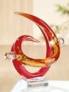 """Gilde GlasArt Skulptur """"Fusione"""" rot/amber/klar, auf Sockel durchgefärbt und mundgeblasen Länge 19,0 cm Breite 23,0 cm Höhe 29,0 cm 39467"""