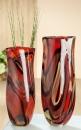 """Gilde GlasArt Vase """"Colato"""" rot/amber/orange/schwarz mundgeblasen + durchgefärbt Länge 10,0 cm Breite 18,0 cm Höhe 46,0 cm 39472"""