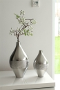 """Gilde Bauchige Vase """"Mattori"""" silber matt, glänzend gekratzt Länge 16,0 cm Breite 16,0 cm Höhe 30,0 cm 43607"""