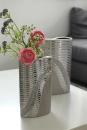"""Gilde Vase """"Valletta"""" Öffnung in Tropfenform grau, platin Länge 10,5 cm Breite 18,5 cm Höhe 32,0 cm 43727"""