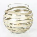 Lambert Paladino Windlicht Glas, Handschliff horizontal, Silberauflage handgemalt, klar / silber, D 11 cm, H 10 cm 17019