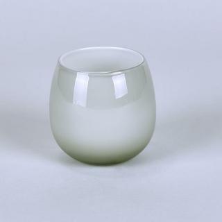 Lambert Pisano Vase / Windlicht Überfangglas, platin H 10  D10  cm 17301