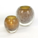 Lambert Salviato Windlicht / Vase amber, H 10 cm, D 9 cm,...