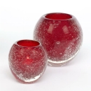 Lambert Salviato Windlicht / Vase rot, H 10 cm, D 9 cm,...