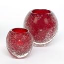 Lambert Salviato Windlicht / Vase rot, H 12 cm, D 12 cm,...