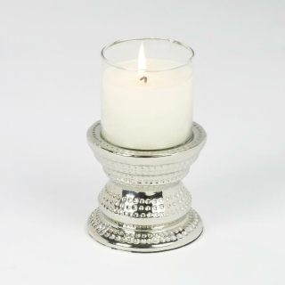 Lambert Makani Windlicht Mini mit Kerze Sockel Metall gehämmert, Glaseinsatz klar vernickelt, mit  eingegossener Kerze, elfenbein H 16 cm, D 10 cm, Brenndauer ca. 22 h 40190
