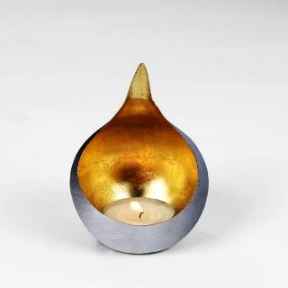 Lambert Caldera Windlicht Eisen klein außen vernickelt gebürstet, innen Metalblatt gold H 15 cm, D 11,5 cm, passend für Teelichter 40607