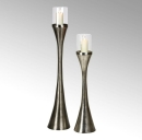 Lambert Laza Bodenwindlicht m/Glaseinsatz rund Aluminium matt vernickelt gebürstet groß Gesamt H135,5cm (ohne Glas H117,5cm) Glas H21 D16cm 40687