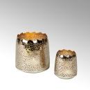 Lambert Sonam Windlicht durchlocht rund Eisen außen vernickelt/ innen gold klein H 10 cm, D 11 cm 40690