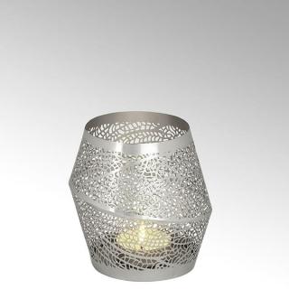 Lambert Dentelle Windlicht Eisen klein geätzt und galvanisiert matt vernickelt außen/silber farbe innen passend für Teelichter, H 15 cm, D 14 cm 40860