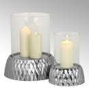 Lambert Crisant Windlicht mit Glas klein Fuß: Aluminiumguß vernickelt galvanisiert H 30 cm, D 22 cm 40871