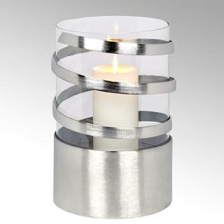 Lambert Spiral Windlicht Aluminium groß matt gebürstet mit Glaseinsatz H31cm D20cm/ Glaseinsatz H23cm D19cm 40886
