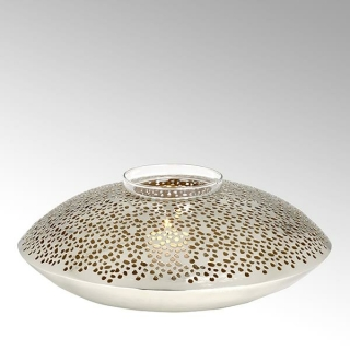 Lambert Jadida Windlicht Eisen perforiert vernickelt/gold rund groß H 10 cm, D 31 cm mit Glaseinsatz, für Teelichter 40915