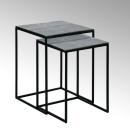 Lambert Dagny  Beistelltisch 2er Satz Untergestell Metall pulverbeschichtet schwarz Tischplatte Aluminium Sandguss Tischplatte vernickelt Kroko-Optik H 47,5 cm x 35,5 x 35,5 cm/ H52,5 cm x 40,5 x 40,5 50091