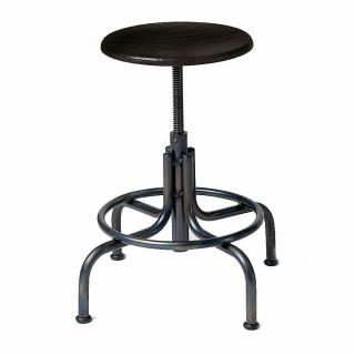 Lambert Industrie Hocker niedrig Gestell Eisen pulverbeschichtet schwarz, Sitz Buche schwarz gebeizt, lackiert, H 45 - 65 cm, D 54 cm, Sitz D 33 cm 54840