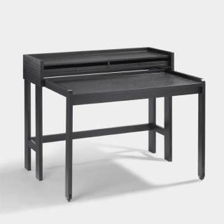 Lambert Modesto Sekretär Eiche massiv, gebeizt schwarz ausziehbar auf Rollen,120 x 58 cm, ausgezogen: Tiefe 88 cm, H Arbeitsplatte 75 cm, H gesamt 93 cm 56019