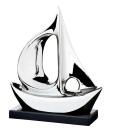 """Gilde Skulptur """"Das Schiff"""" silber auf schwarzem Sockel Länge 10,0 cm Breite 31,0 cm Höhe 34,0 cm 45081"""