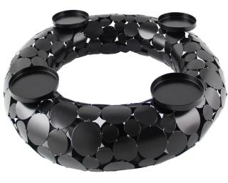 Kaheku Kranz Style Edelstahl schwarz veredelt, Durchmesser 50 cm, Höhe 12 cm  für 4 Kerzen bis, Durchmesser 9 cm  Edelstahl 884001113