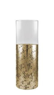 Kaheku Windlicht Loukia antik gold Aluminium mit Glasaufsatz, Durchmesser 16 cm, Höhe 35 cm   99990368