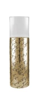 Kaheku Windlicht Loukia antik gold Aluminium mit Glasaufsatz, Durchmesser 20 cm, Höhe 65 cm   99990369