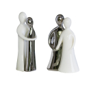 Casablanca Figur Romance Keramik,weiss/silber 2tlg.Set t...