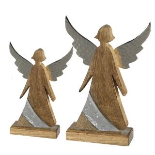 Casablanca Engel Nobis Alu/Mangoholz,Metall H.30cm  Höhe: 30 cm  Breite: 20 cm  Ø 6 cm 43246