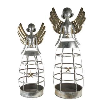 Casablanca Pflanzobjekt Engel Metall,ant.silb H.110cm  Höhe: 110 cm  Breite: 44 cm  Tiefe: 37 cm 74924