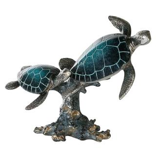 Casablanca Schildkröten Josie Poly,blau/silb. H.19cm  Höhe: 19 cm  Breite: 24 cm  Tiefe: 12 cm 79847