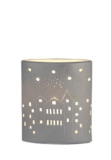 """Gilde Lampe Ellipse """"City"""" zweiseitig geprickelt, grau gespritzt Fassung E 14 max. 40 Watt 220-240 V L=10,0 cm B= 17,0 cm H= 20,0 cm 22890"""