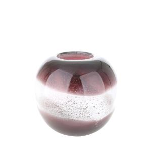 """Gilde GlasArt Vase rund """"Grano"""" magenta/weiß L=20,5 cm B= 20,5 cm H= 18,5 cm 39659"""