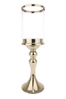 Gilde Windlicht mit Glas gold für Stumpe und Spitzkerze, Glas 10 x 15cm L=11,0 cm B= 11,0 cm H= 36,0 cm 65439