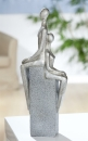Gilde Skulptur Liebespaar  Amanti  sitzend, antik silber, Sitzstein granitfarben L= 5,0 cm B= 14,0 cm H= 36,0 cm 36603