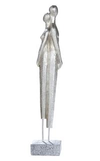 Gilde Skulptur Liebespaar  Amanti  stehend, antik silber, Base granitfarben L= 5,5 cm B= 8,0 cm H= 40,0 cm 36605