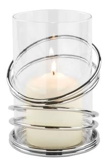 Fink CLAUDE, Windlicht, Edelstahl vernickelt, Glas, silberfarben, Höhe 15 cm, Durchmesser 11 cm 159603
