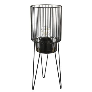 """Casablanca Windlicht """"Diversity"""" Metall / Glas . schwarz / goldfarben außen schwarz . innen goldfarben mit Metallfuß . schwarz mit Glaseinsatz (ohne Leuchtmittel) für Kerzen, .... H= 53 cm Ø 19 cm 74981"""