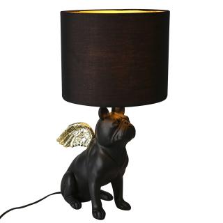 """Casablanca Lampe Hund """"Flying Bulli"""" Poly . matt schwarz mit glänzenden goldfarbenen Flügeln Lampenschirm . Textil . innen goldfarben / außen schwarz E27 Fassung . max. 60 Watt H= 55 cm Ø 26 cm 89132"""