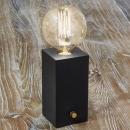 Design Lampe Tischlampe EDISON aus Holz mit Dimmer 20 cm